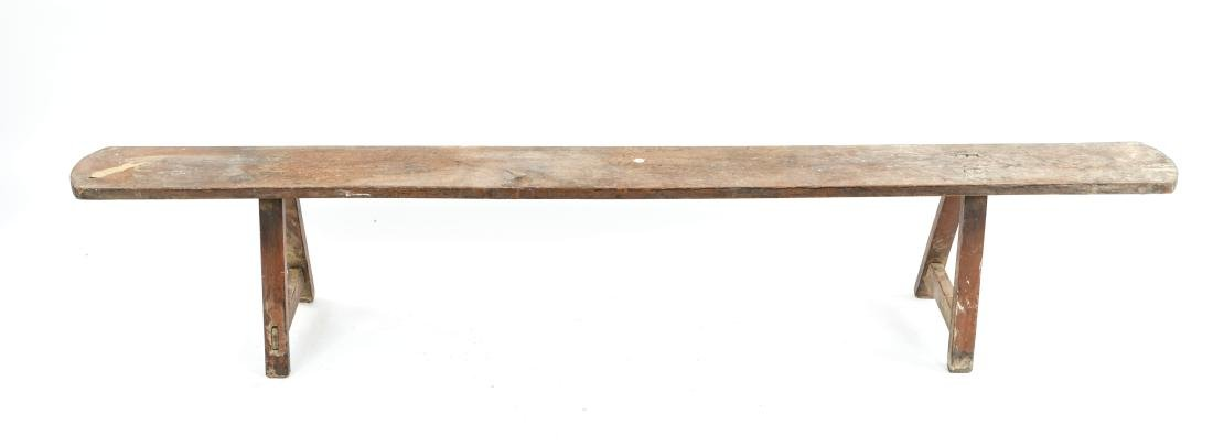 ANTIQUE 19TH C. NARROW SLIM BENCH - 11