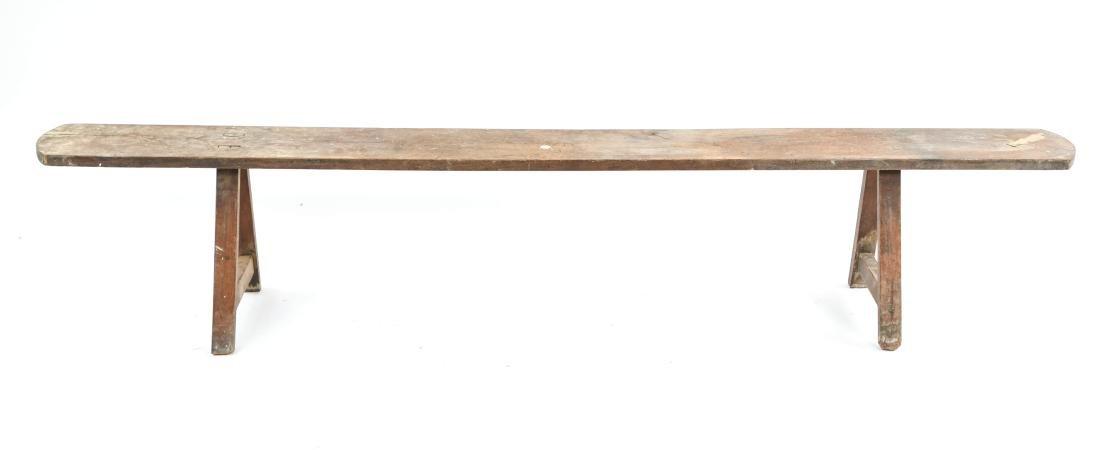 ANTIQUE 19TH C. NARROW SLIM BENCH - 2