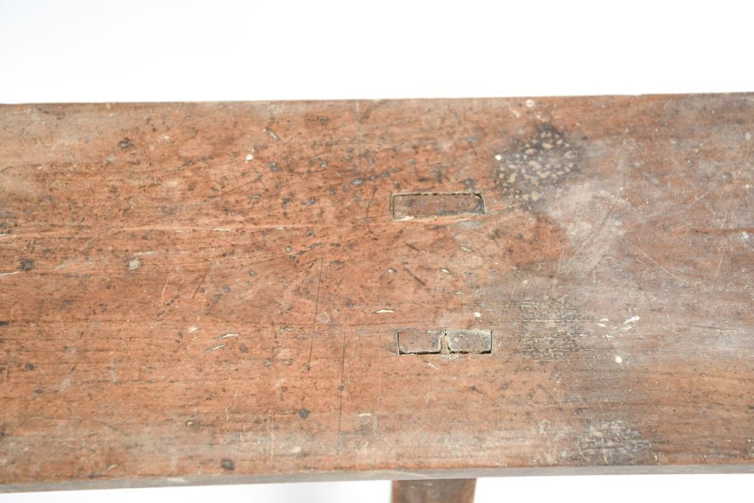 ANTIQUE 19TH C. NARROW SLIM BENCH - 9