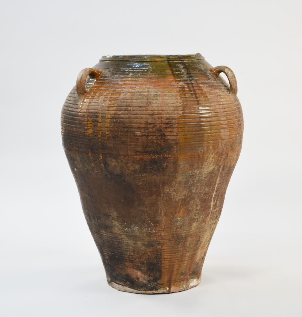 GLAZED TERRA COTTA URN WITH CORK COLLECTION