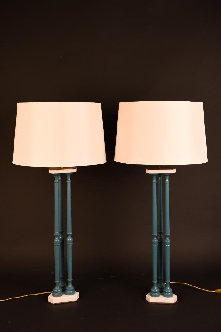 PAIR OF 1970'S BLUE PILLAR LAMPS