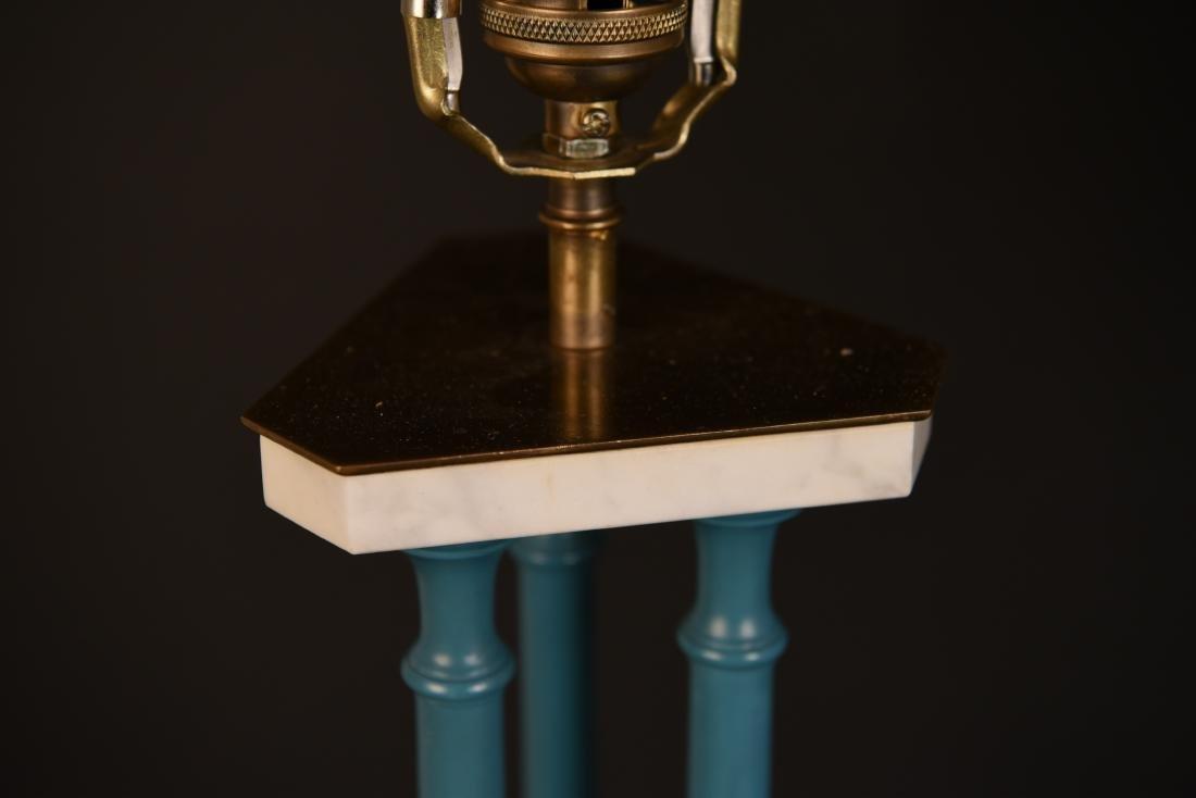 PAIR OF 1970'S BLUE PILLAR LAMPS - 3