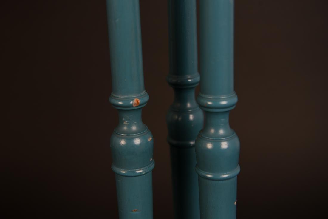 PAIR OF 1970'S BLUE PILLAR LAMPS - 7