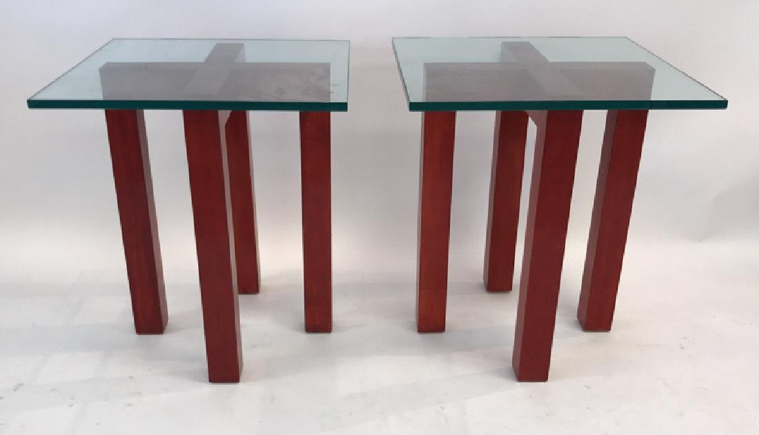 WOOD AND GLASS X BASE SIDE TABLES