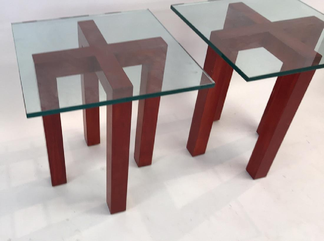 WOOD AND GLASS X BASE SIDE TABLES - 2