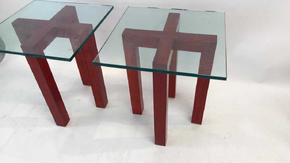 WOOD AND GLASS X BASE SIDE TABLES - 3