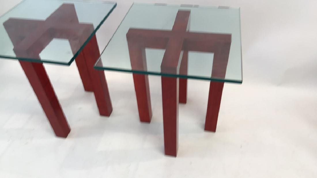 WOOD AND GLASS X BASE SIDE TABLES - 4