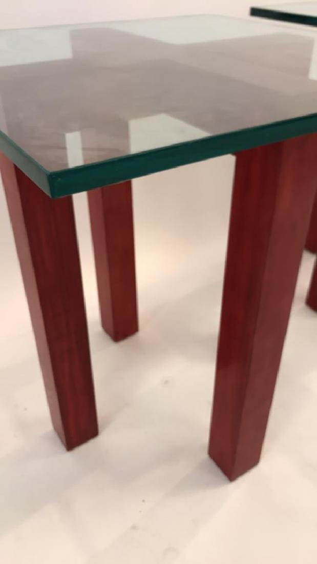 WOOD AND GLASS X BASE SIDE TABLES - 6
