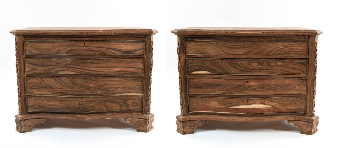 PAIR OF CARVED ROSEWOOD 4-DRAWER CHESTS
