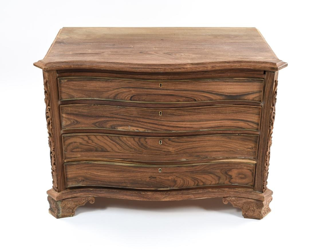 PAIR OF CARVED ROSEWOOD 4-DRAWER CHESTS - 2