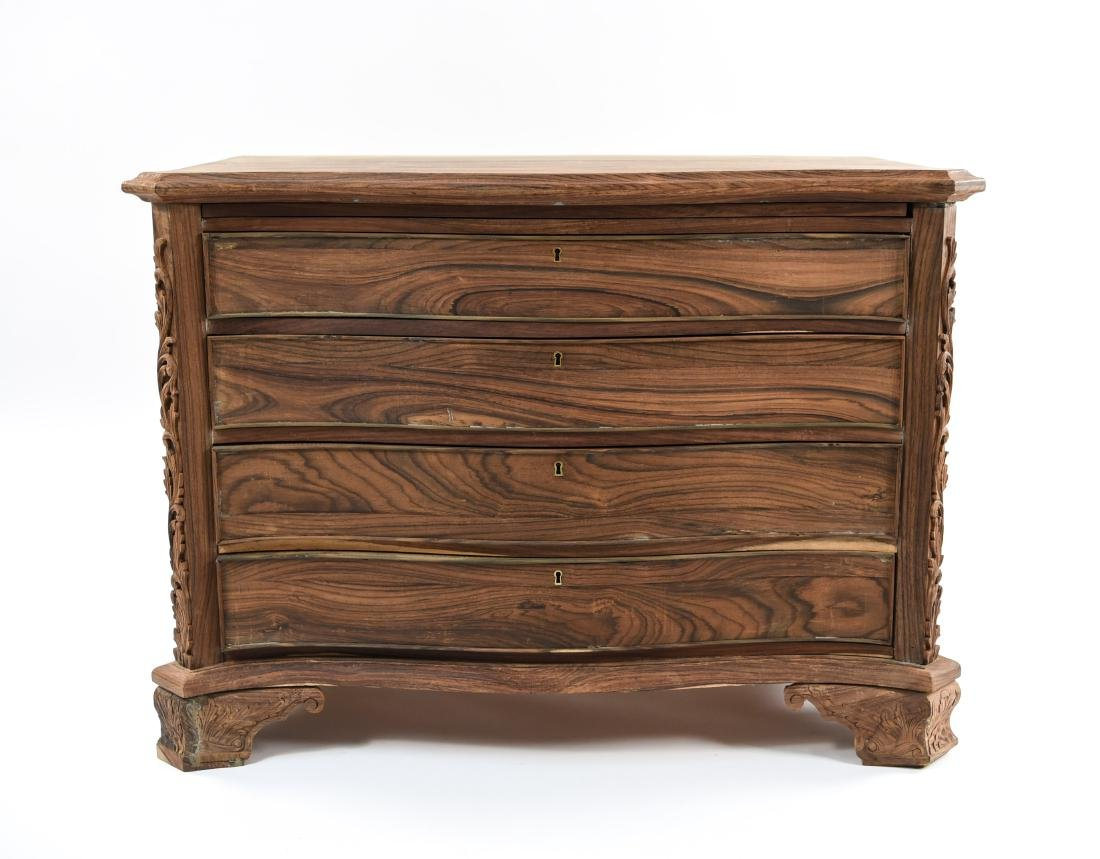 PAIR OF CARVED ROSEWOOD 4-DRAWER CHESTS - 3