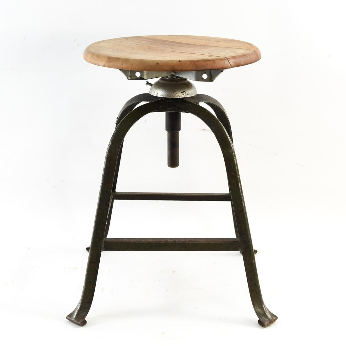 INDUSTRIAL IRON AND WOOD SWIVEL STOOL