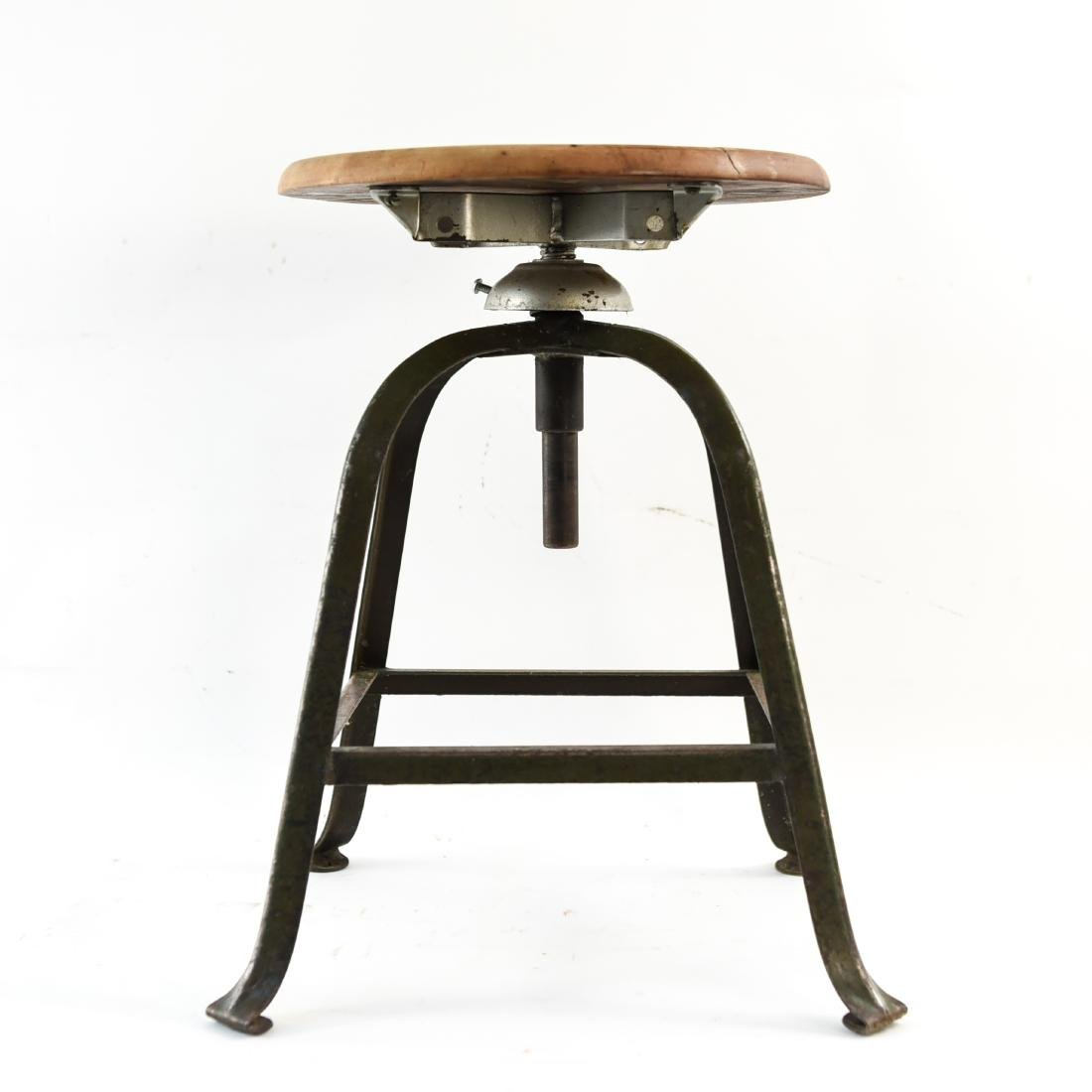 INDUSTRIAL IRON AND WOOD SWIVEL STOOL - 2