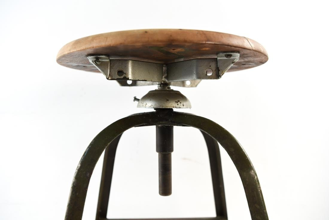 INDUSTRIAL IRON AND WOOD SWIVEL STOOL - 7