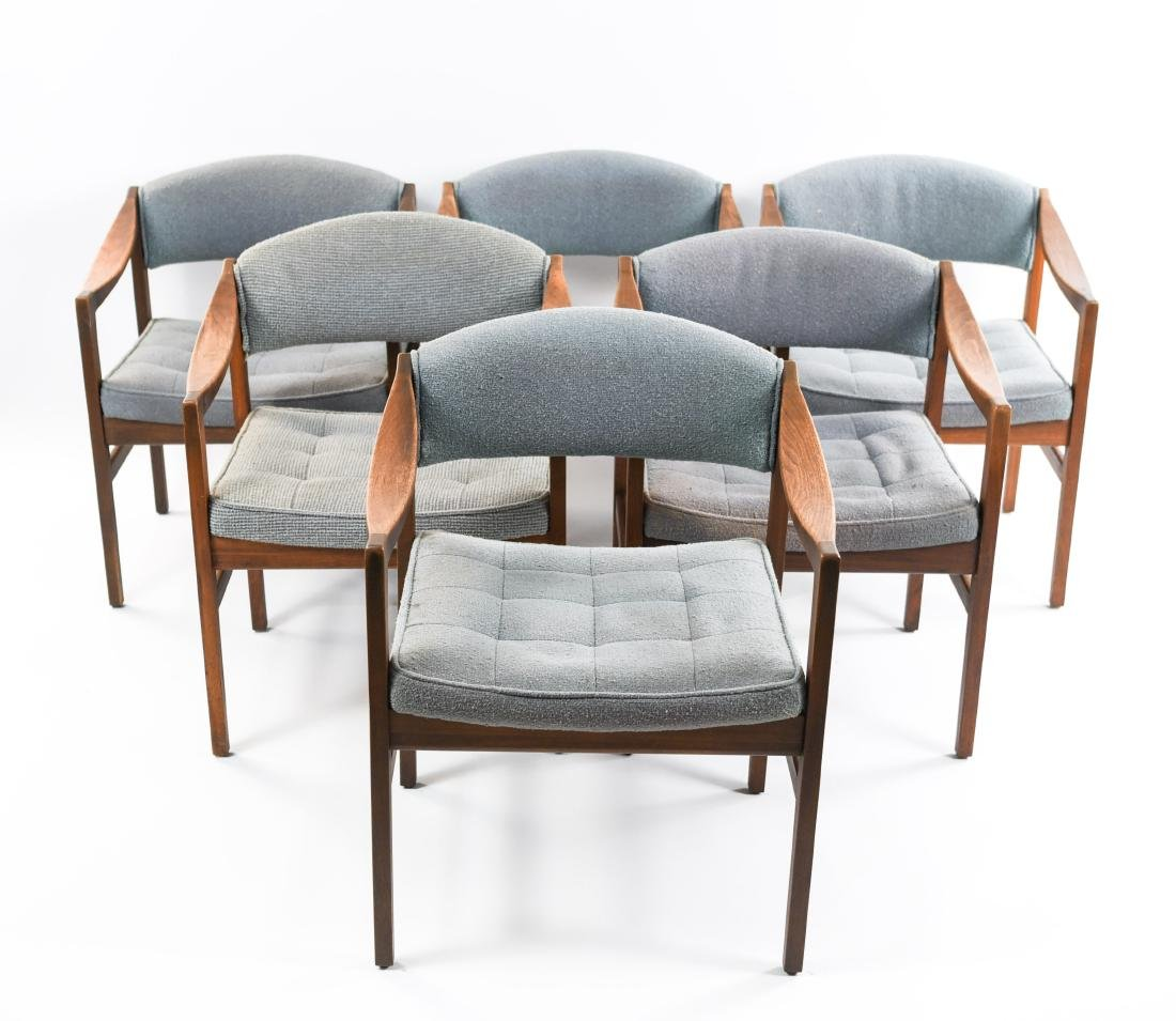 (6) MID-CENTURY UPHOLSTERED ARM CHAIRS CHAIRS
