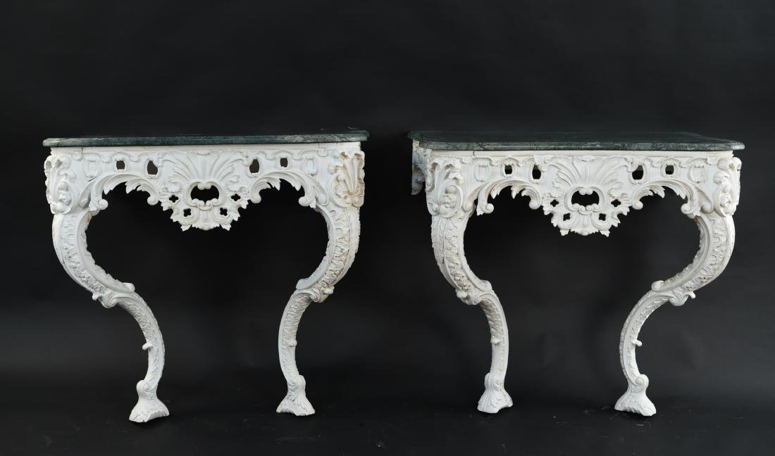 PAIR OF MARBLE TOP CARVED ITALIAN CONSOLES