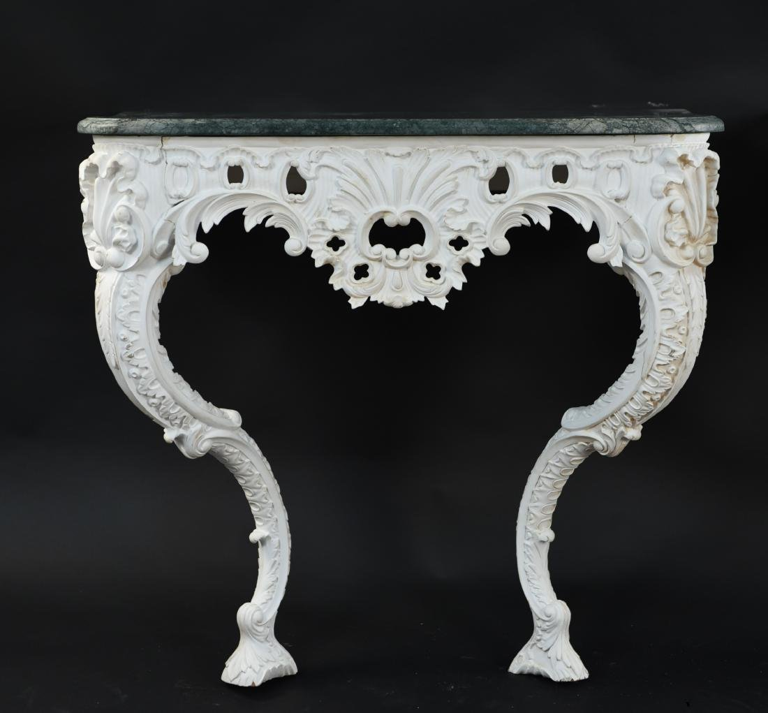 PAIR OF MARBLE TOP CARVED ITALIAN CONSOLES - 2
