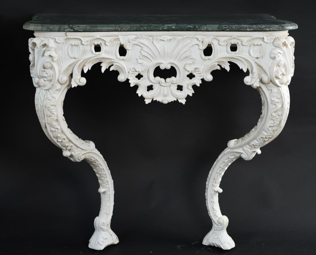 PAIR OF MARBLE TOP CARVED ITALIAN CONSOLES - 3