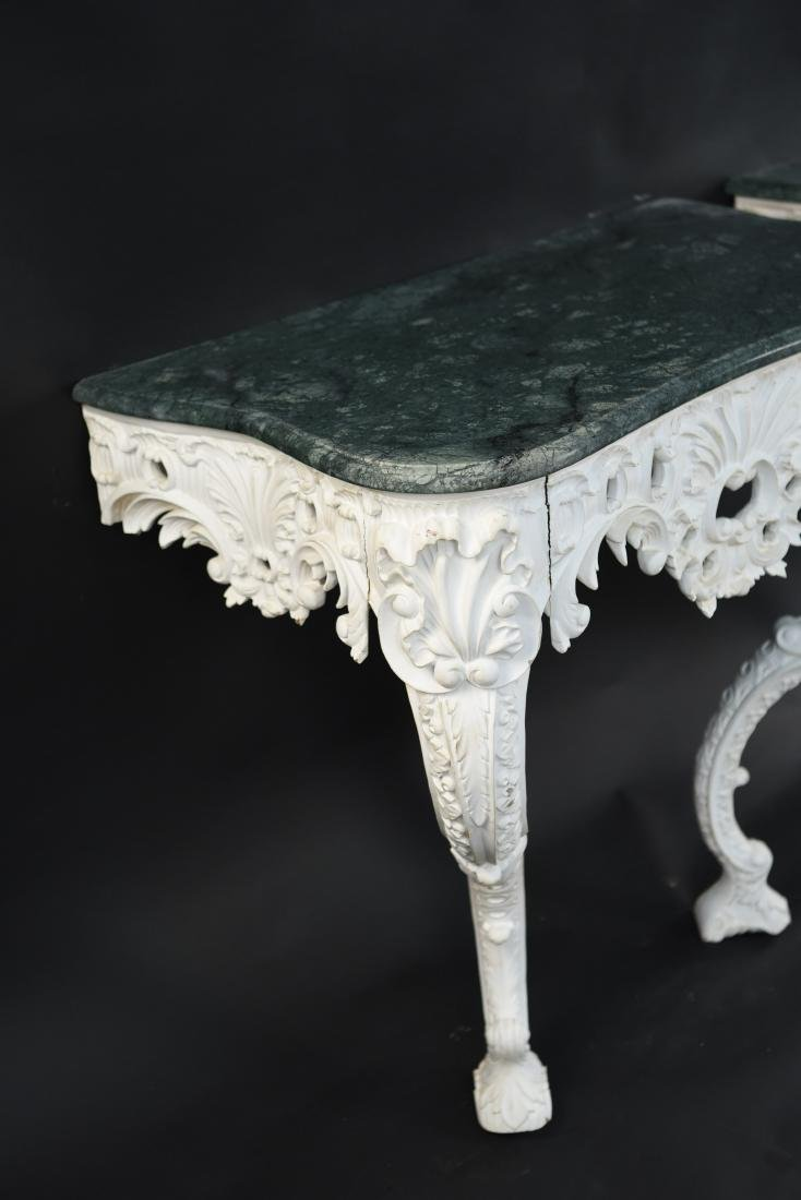 PAIR OF MARBLE TOP CARVED ITALIAN CONSOLES - 4
