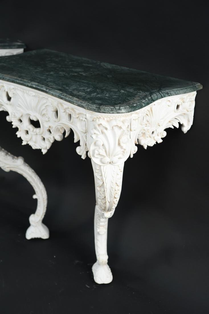PAIR OF MARBLE TOP CARVED ITALIAN CONSOLES - 5