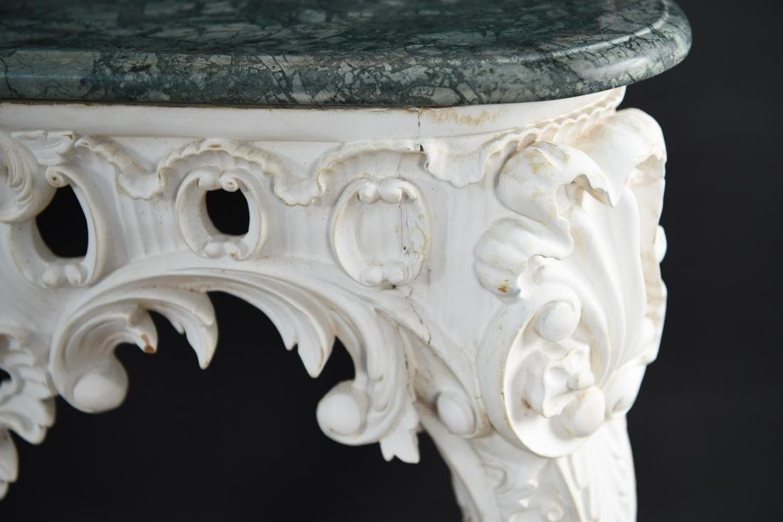 PAIR OF MARBLE TOP CARVED ITALIAN CONSOLES - 6