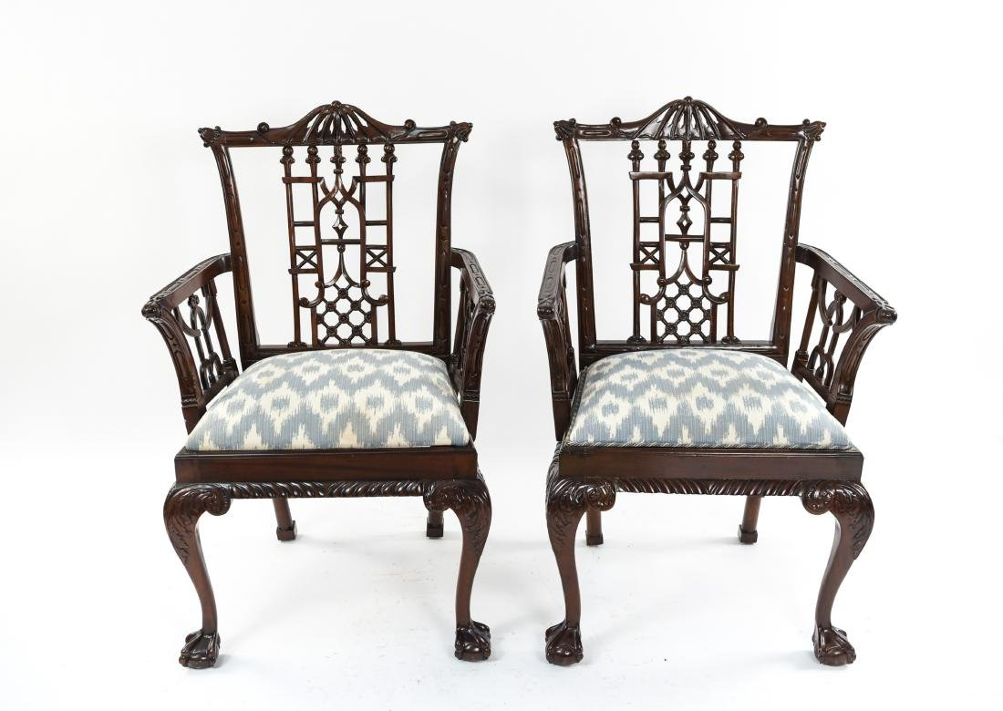 CHINESE CHIPPENDALE STYLE CARVED MAHOGANY CHAIRS