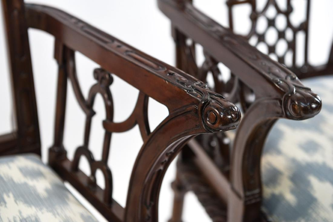 CHINESE CHIPPENDALE STYLE CARVED MAHOGANY CHAIRS - 3