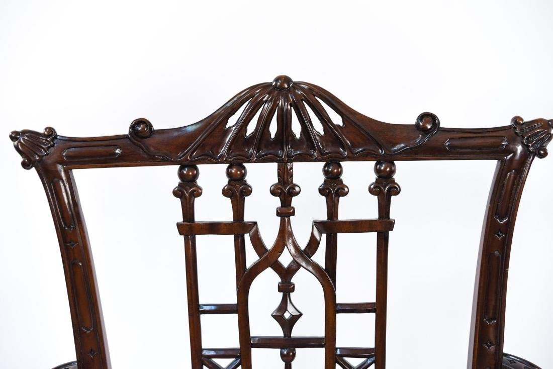CHINESE CHIPPENDALE STYLE CARVED MAHOGANY CHAIRS - 4