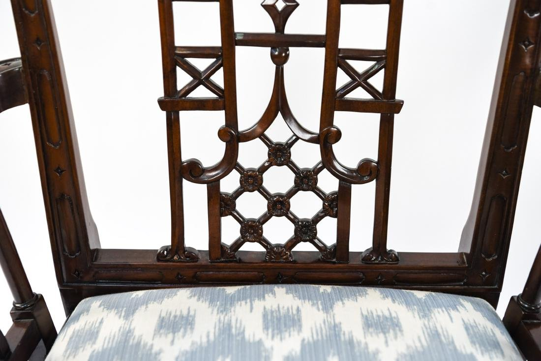 CHINESE CHIPPENDALE STYLE CARVED MAHOGANY CHAIRS - 6