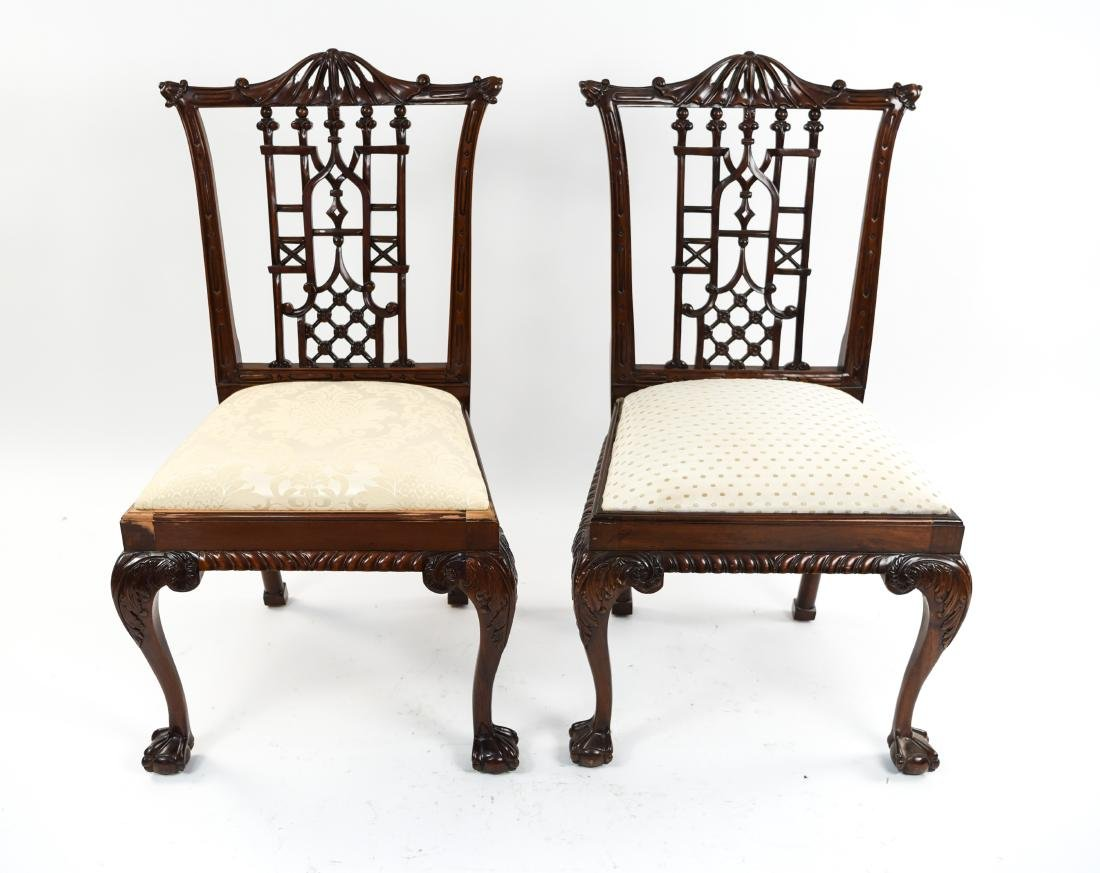 CHINESE CHIPPENDALE STYLE CARVED MAHOGANY CHAIRS - 2