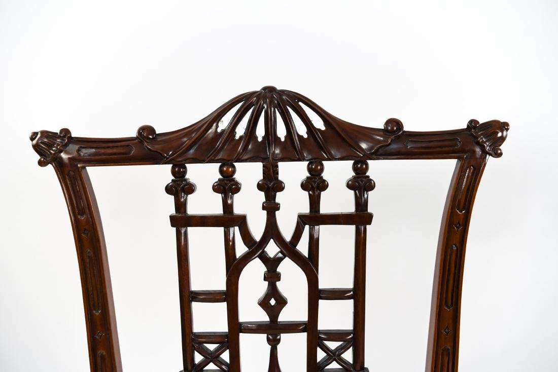 CHINESE CHIPPENDALE STYLE CARVED MAHOGANY CHAIRS - 7