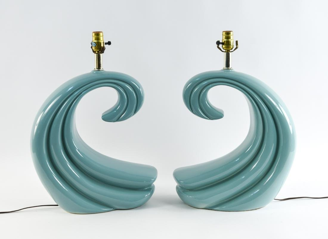 PAIR OF CERAMIC WAVE LAMPS