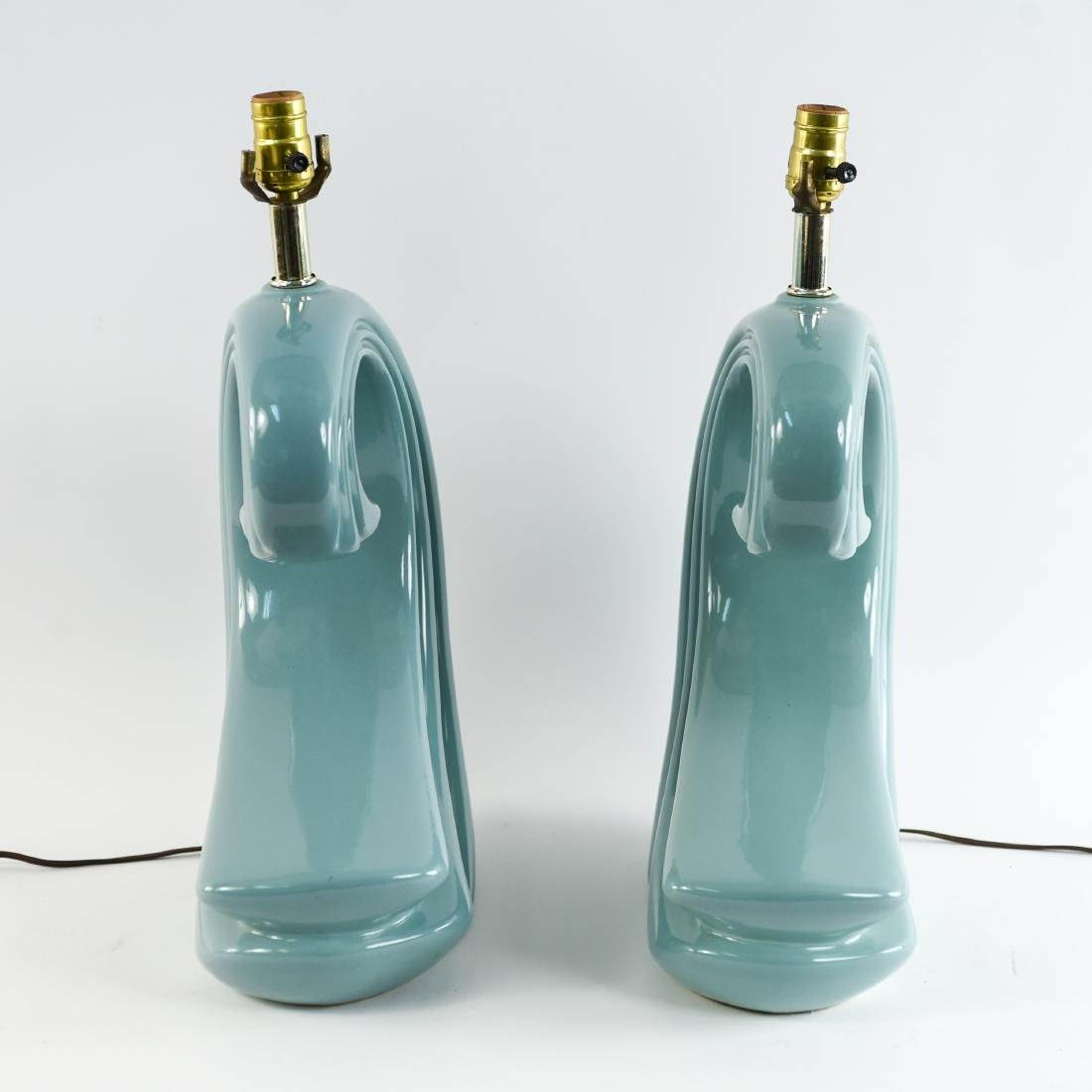PAIR OF CERAMIC WAVE LAMPS - 6