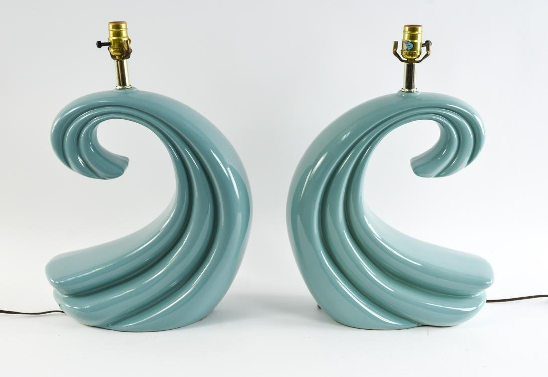 PAIR OF CERAMIC WAVE LAMPS - 7