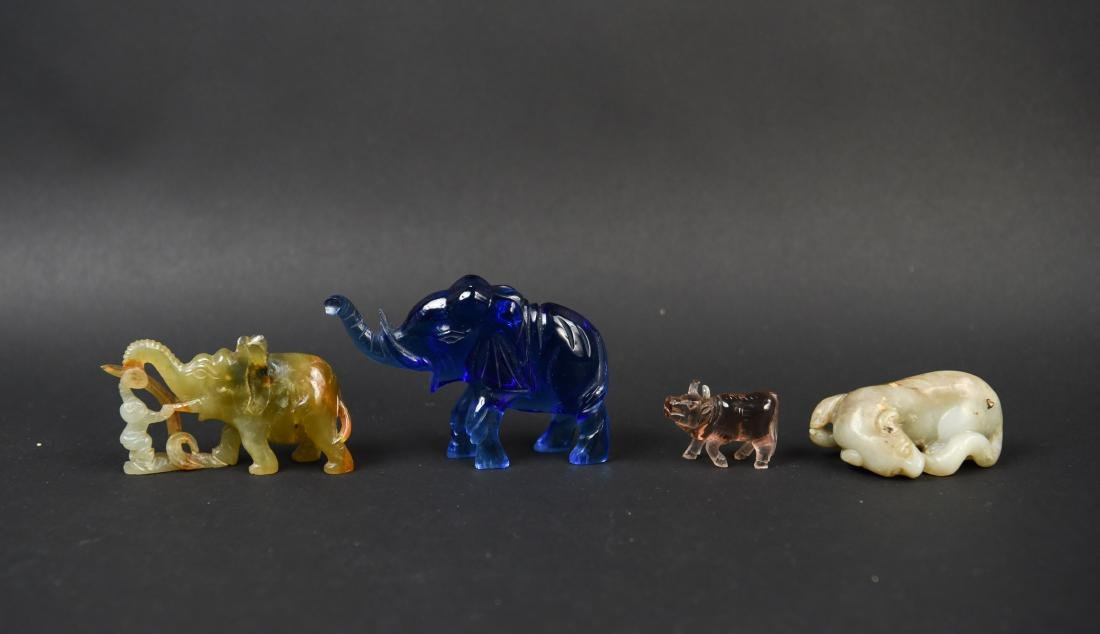 CHINESE CARVED STONE ANIMAL GROUPING