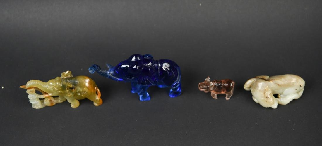 CHINESE CARVED STONE ANIMAL GROUPING - 2