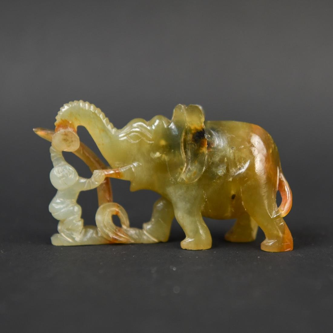 CHINESE CARVED STONE ANIMAL GROUPING - 5