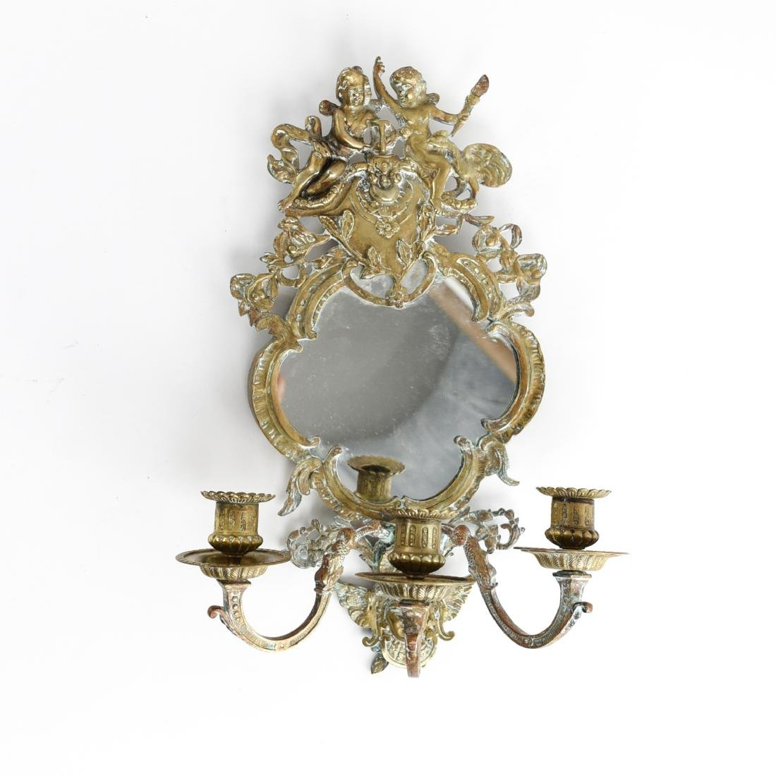 19TH C. BRASS MIRRORED SCONCE W/ ANGEL