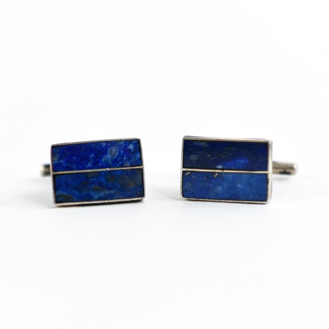 PAIR OF STERLING AND LAPIS CUFFLINKS