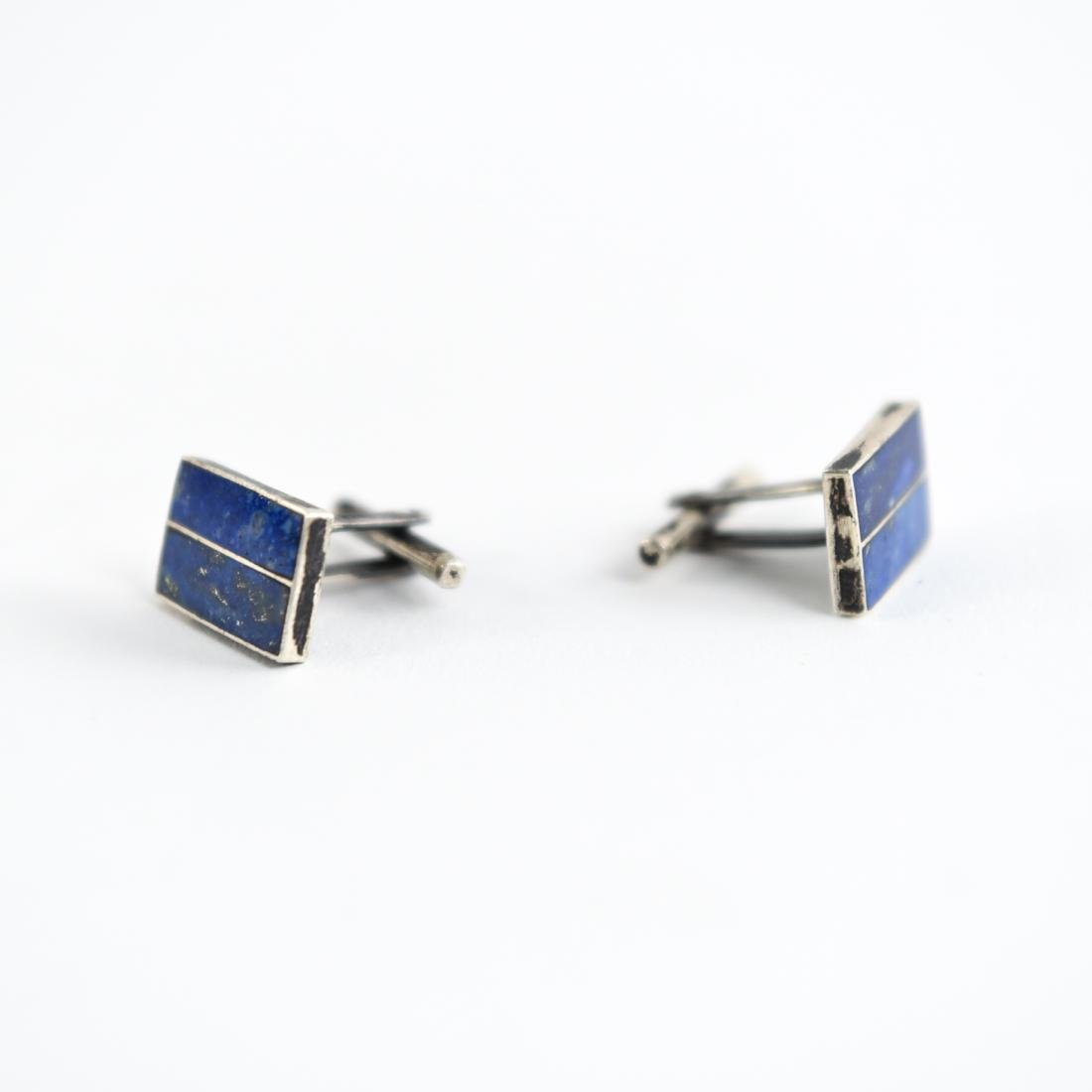 PAIR OF STERLING AND LAPIS CUFFLINKS - 3