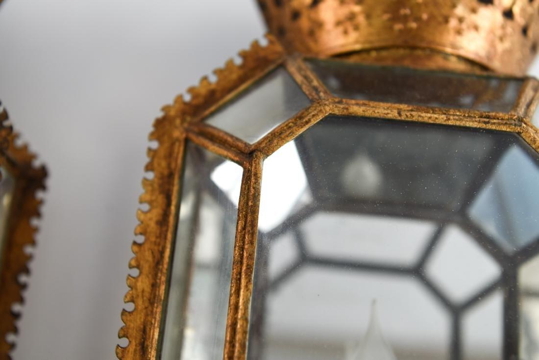 CROWN GLASS CASE LANTERN SCONCES LIGHT FIXTURES - 3