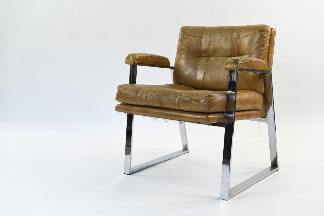 PATRICIAN LEATHER AND CHROME FLAT BAR ARM CHAIR