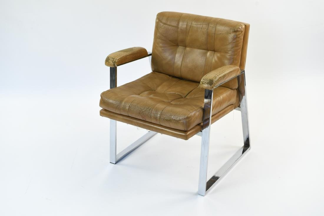 PATRICIAN LEATHER AND CHROME FLAT BAR ARM CHAIR - 2