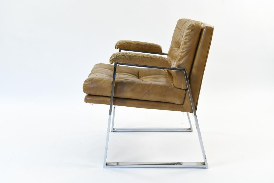 PATRICIAN LEATHER AND CHROME FLAT BAR ARM CHAIR - 3
