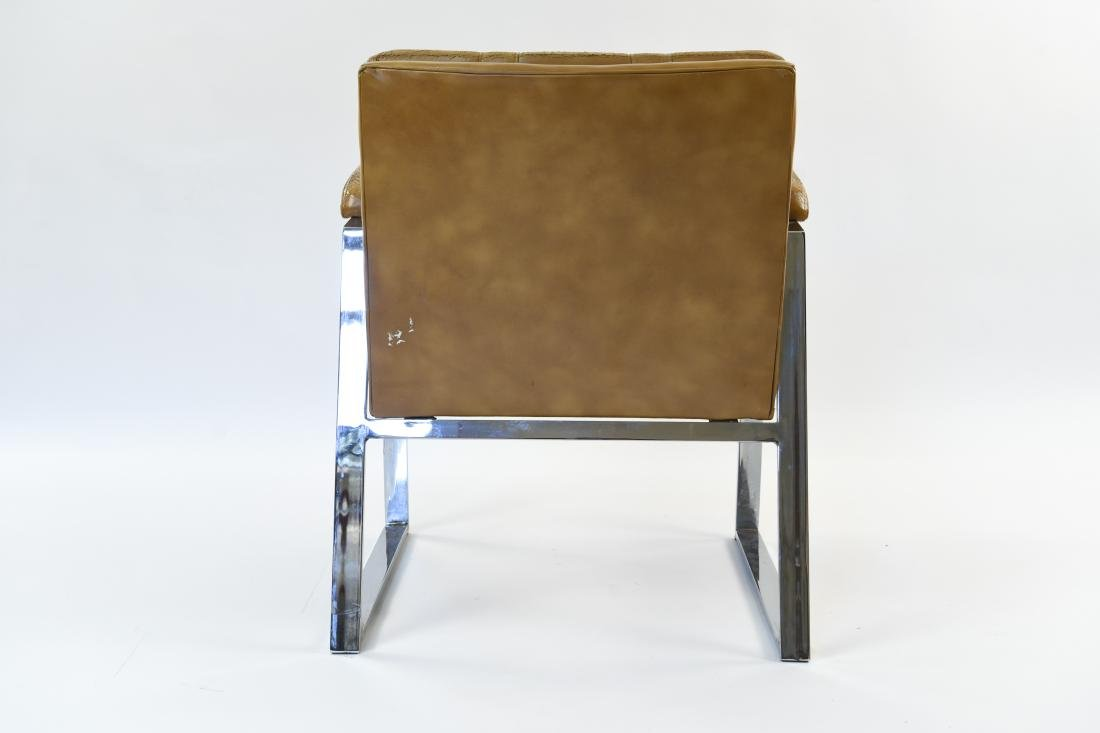 PATRICIAN LEATHER AND CHROME FLAT BAR ARM CHAIR - 4