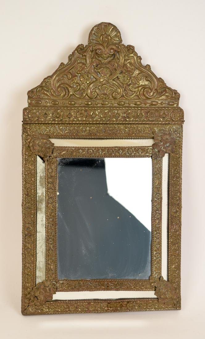 ANTIQUE BRASS REPOUSSE MIRROR