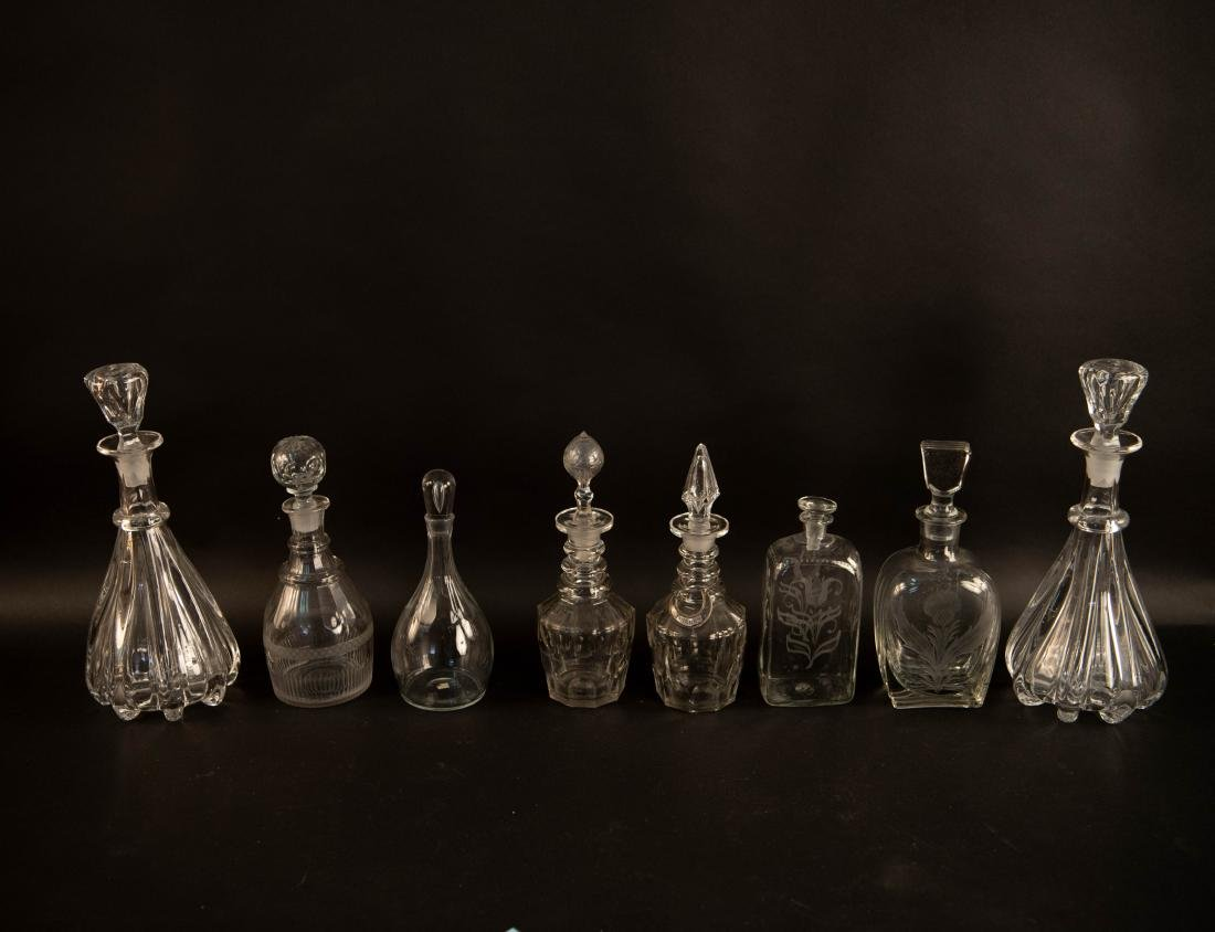 GROUPING OF GLASS DECANTERS