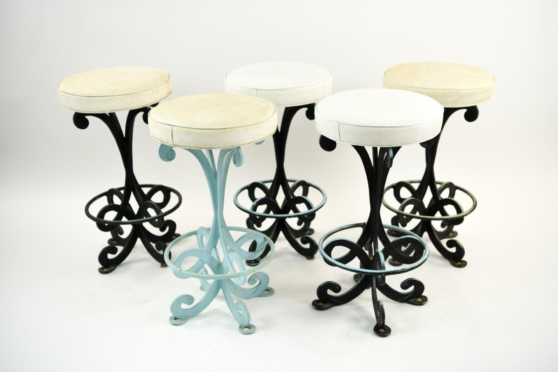 GROUPING OF IRON BAR STOOLS