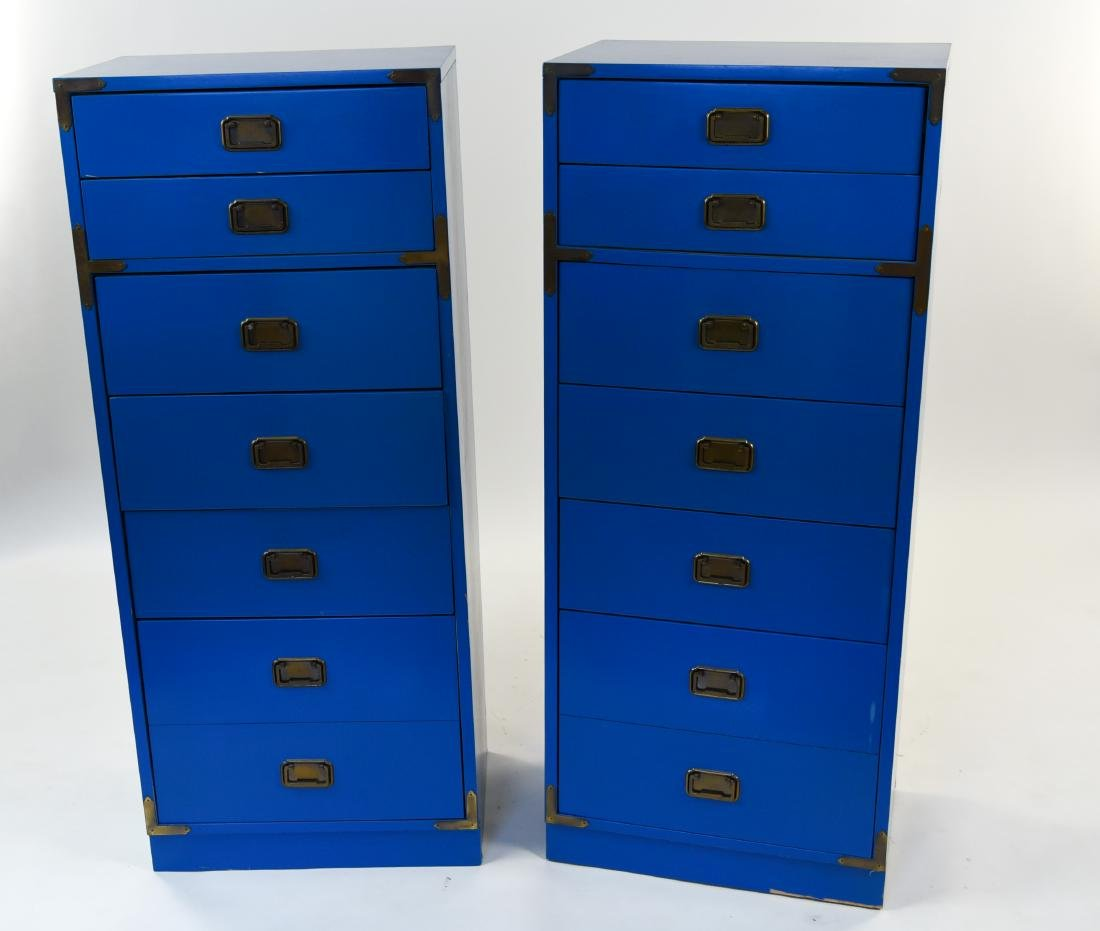 PAIR CAMPAIGN STYLE BLUE TALL CHESTS OF DRAWERS