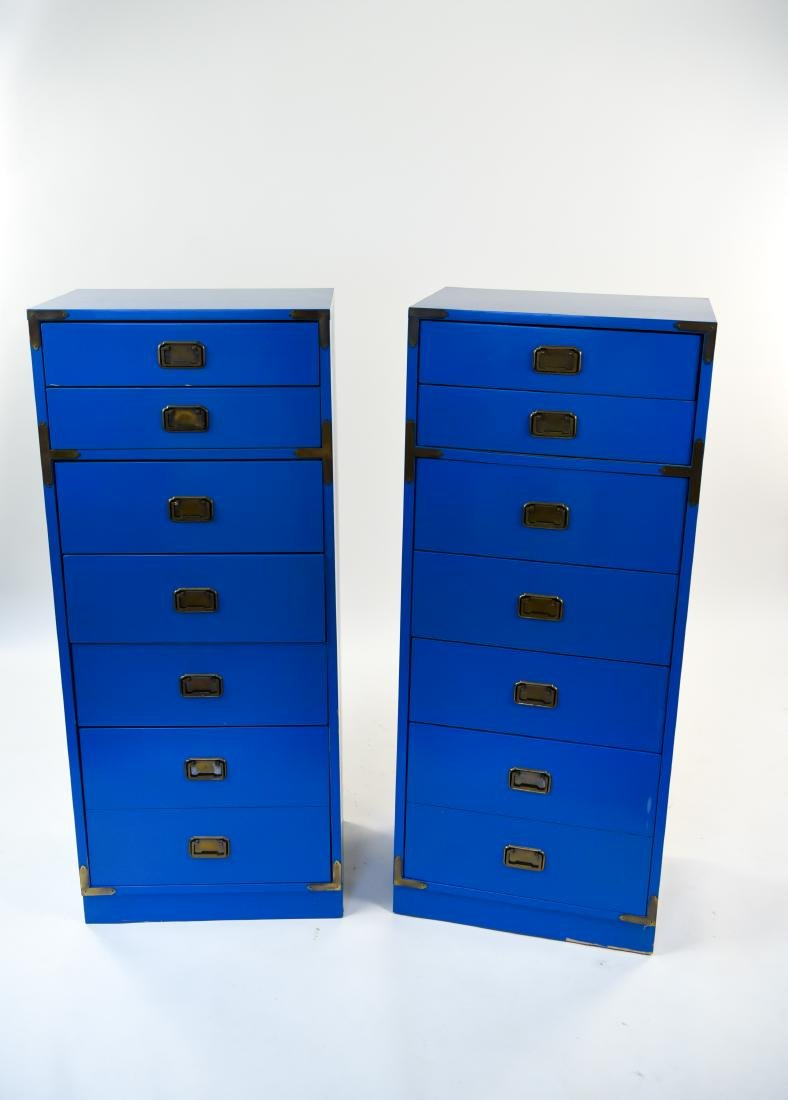 PAIR CAMPAIGN STYLE BLUE TALL CHESTS OF DRAWERS - 2